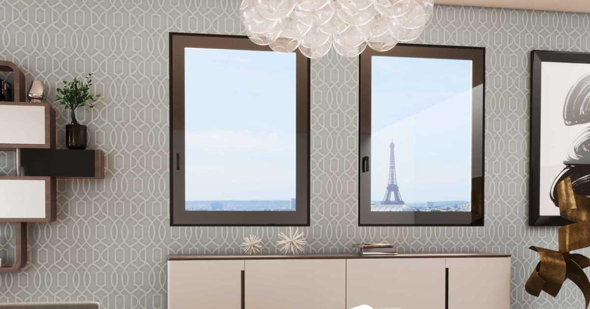 finestre standard in alluminio scuro