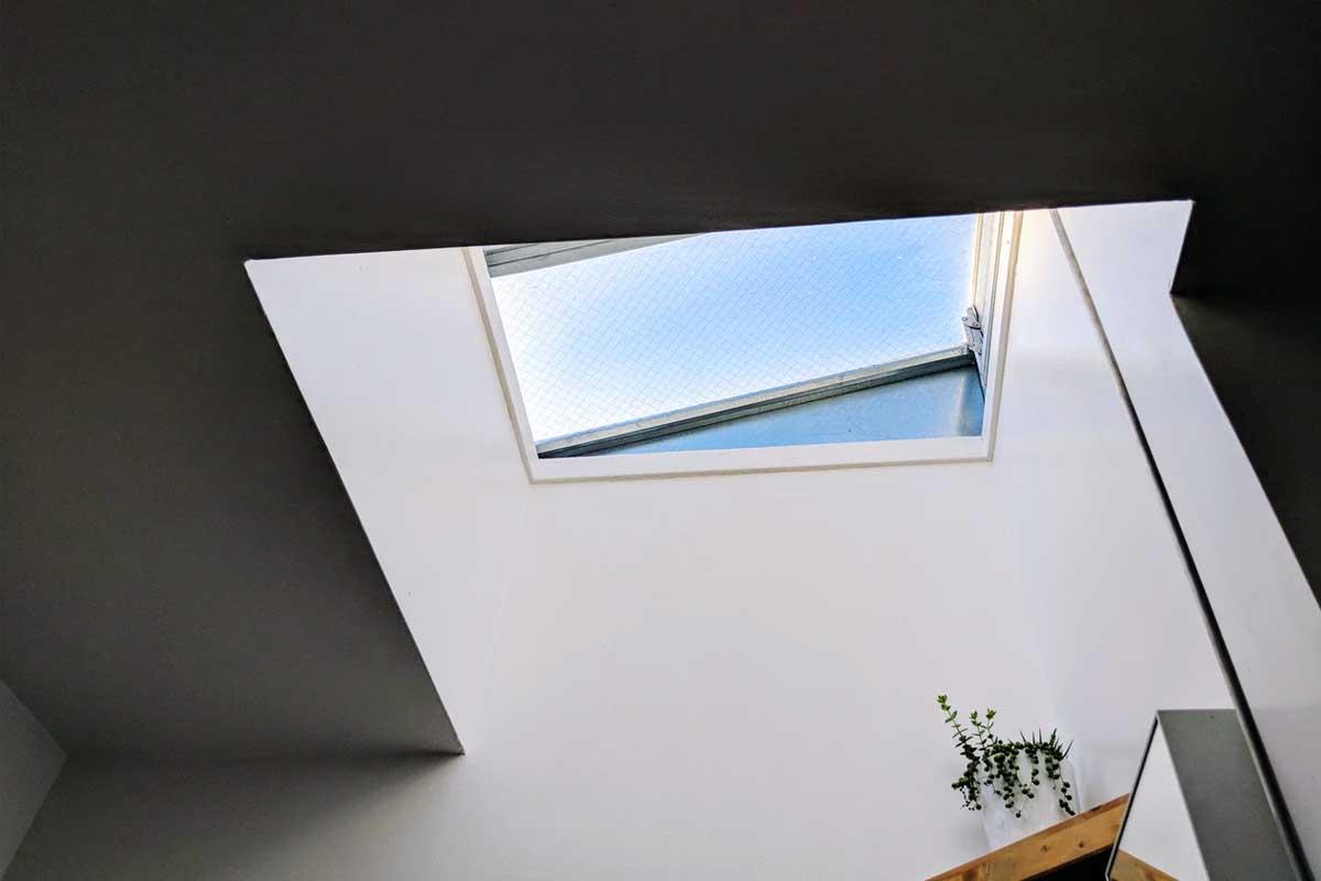 lucernario aperto per garantire la permeabilità dell'aria