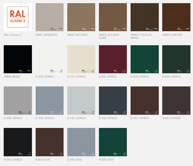tabella colori ral grigio e argento