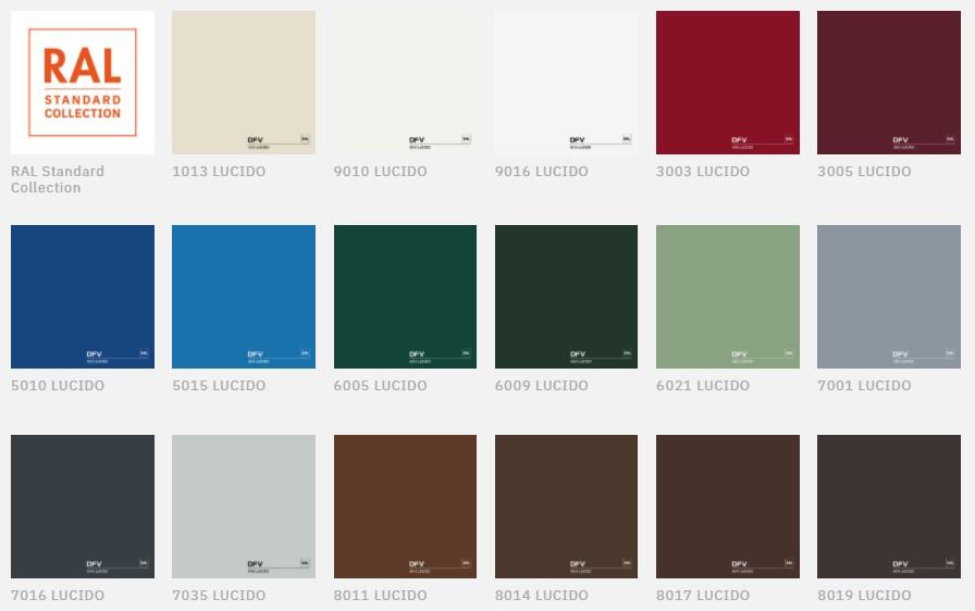 cartella colori ral standard per infissi in alluminio