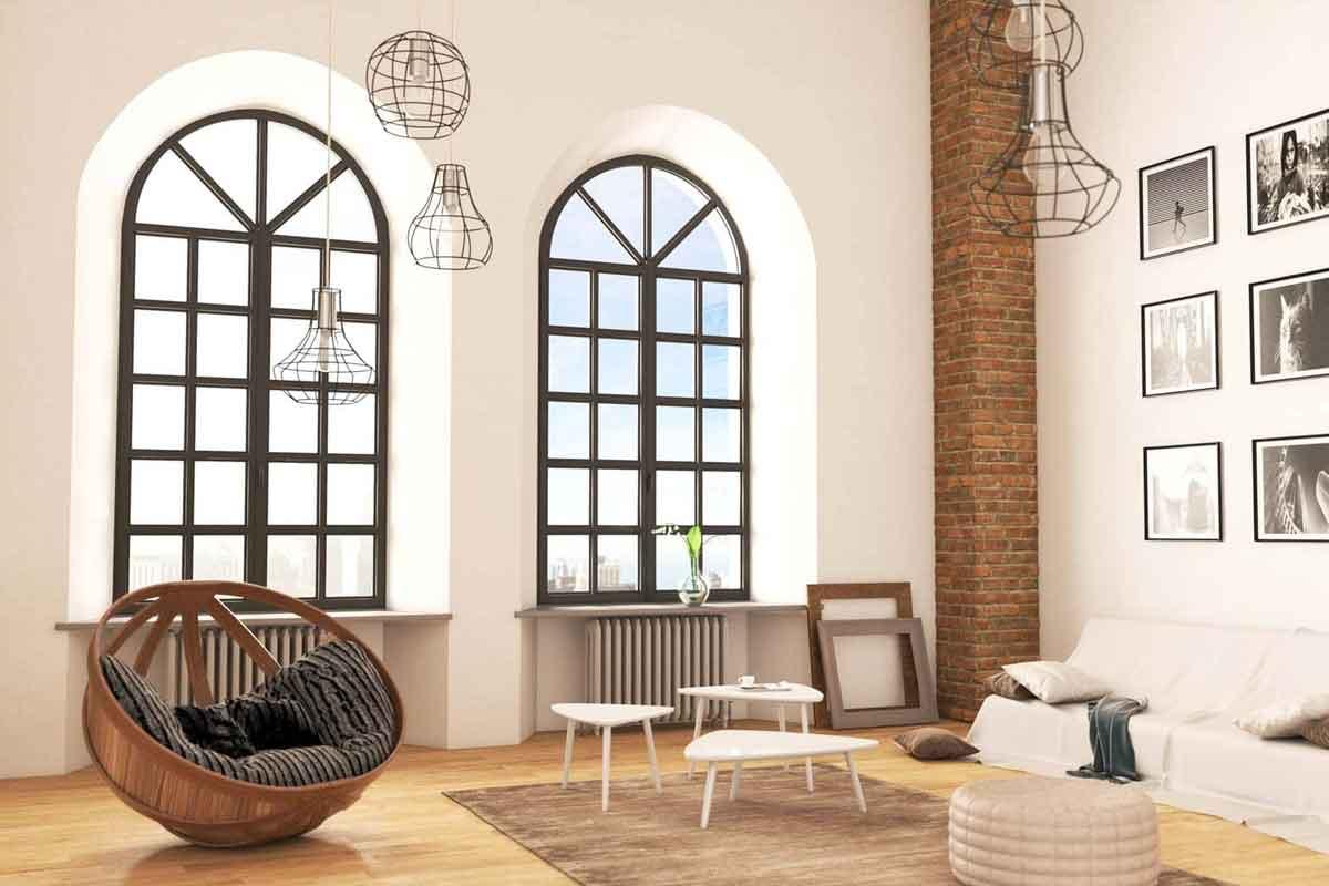 finestre in alluminio ad arco